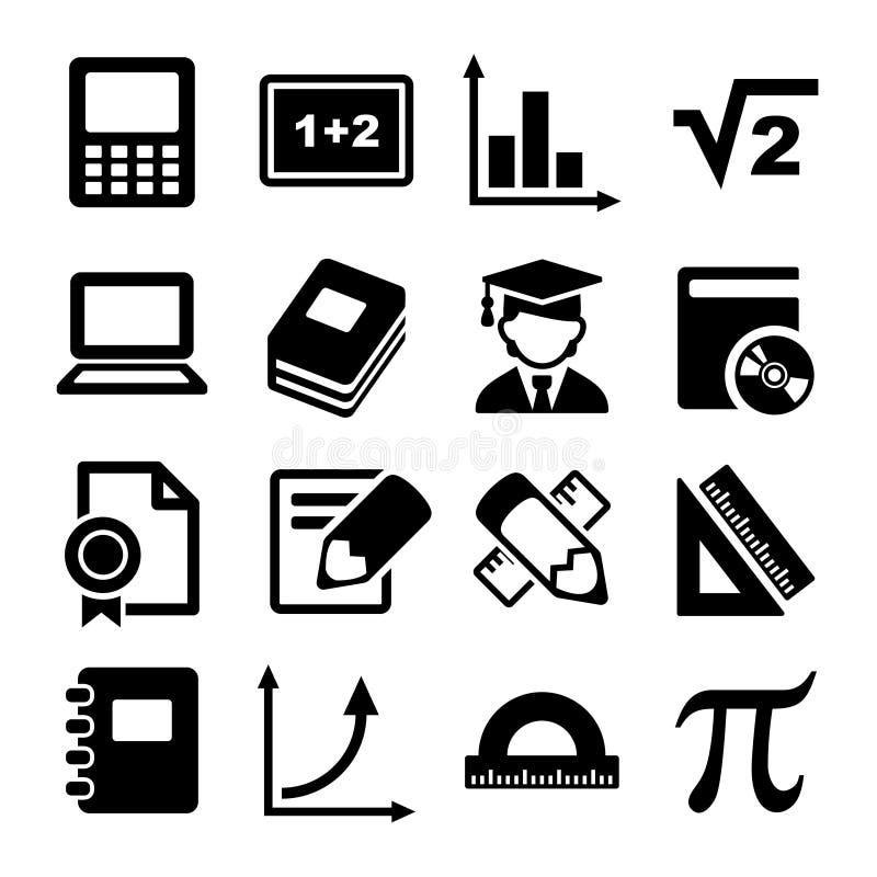Ícones da matemática ajustados ilustração stock