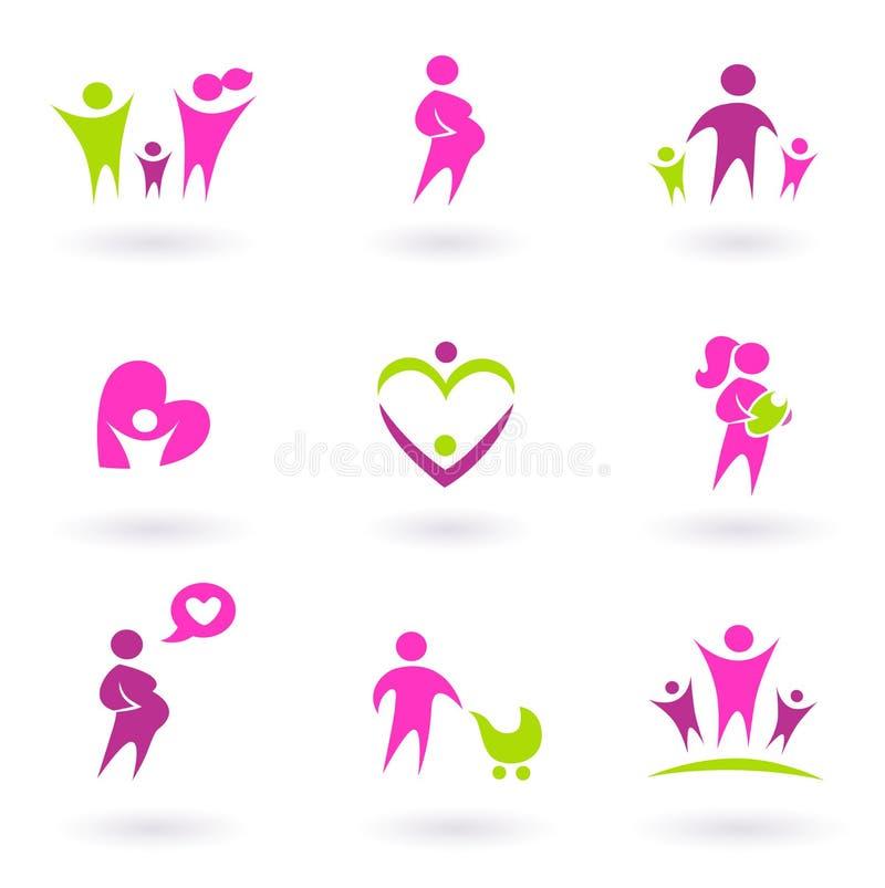 Ícones da maternidade, da gravidez e da saúde - cor-de-rosa ilustração royalty free