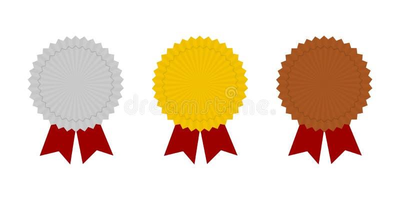 Ícones da medalha Ícones do ouro, a de prata e a de bronze da medalha Medalhas do campeão ilustração stock