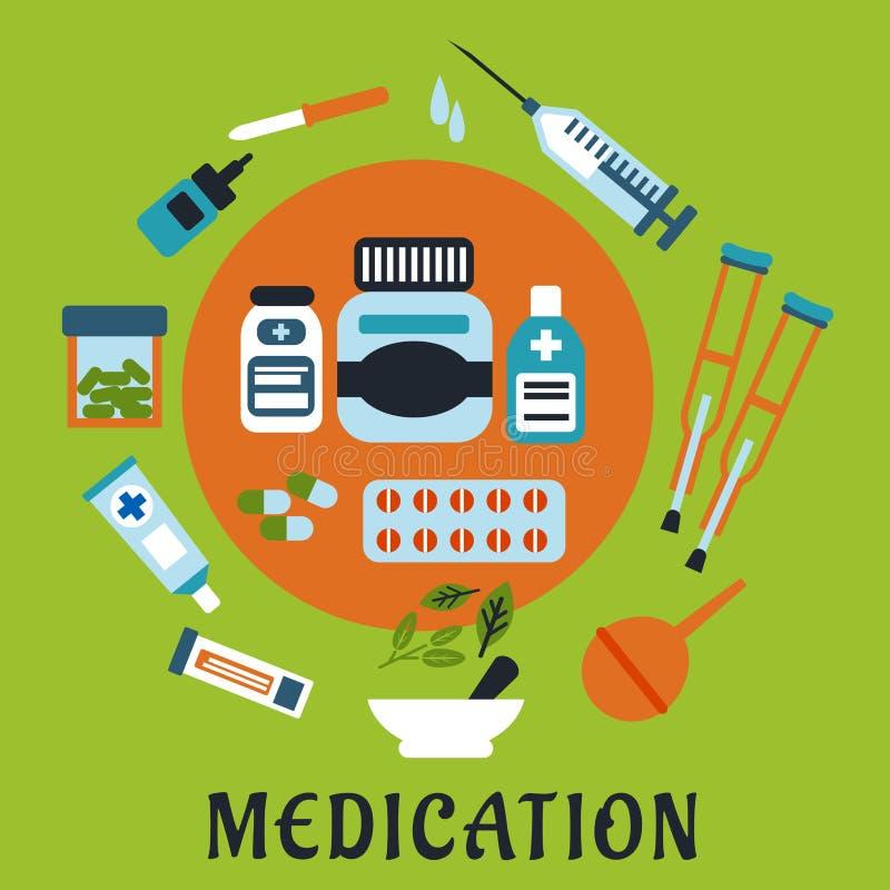 Ícones da medicamentação com drogas e ferramentas ilustração royalty free