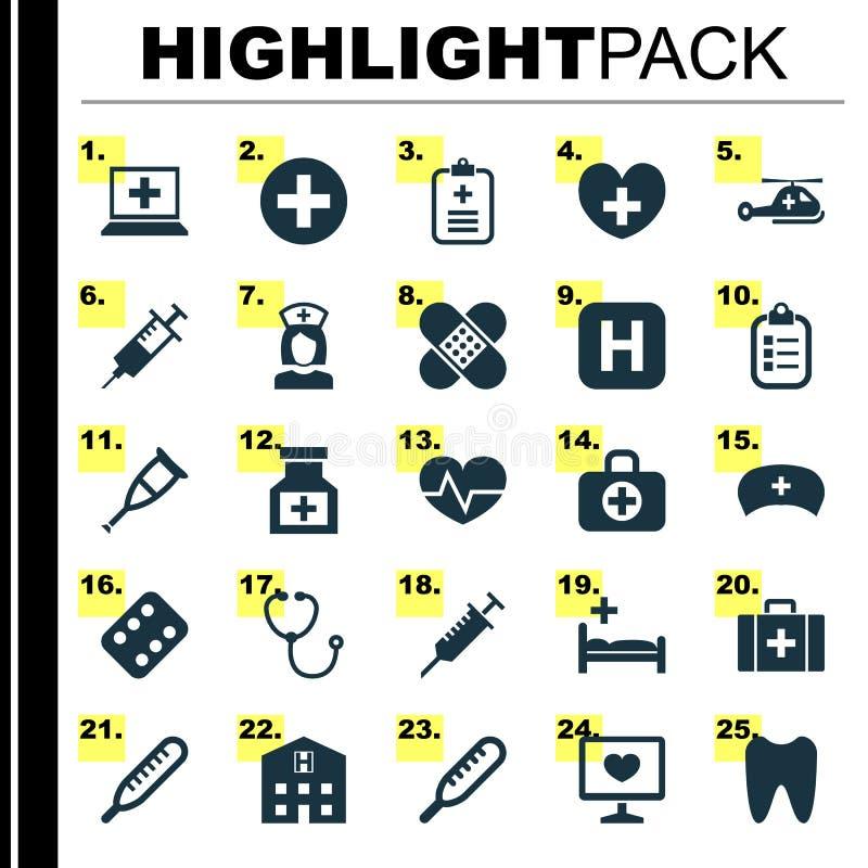 Ícones da medicina ajustados Coleção do ponto, hospital, Mark And Other Elements Igualmente inclui símbolos como curam, analisa ilustração royalty free