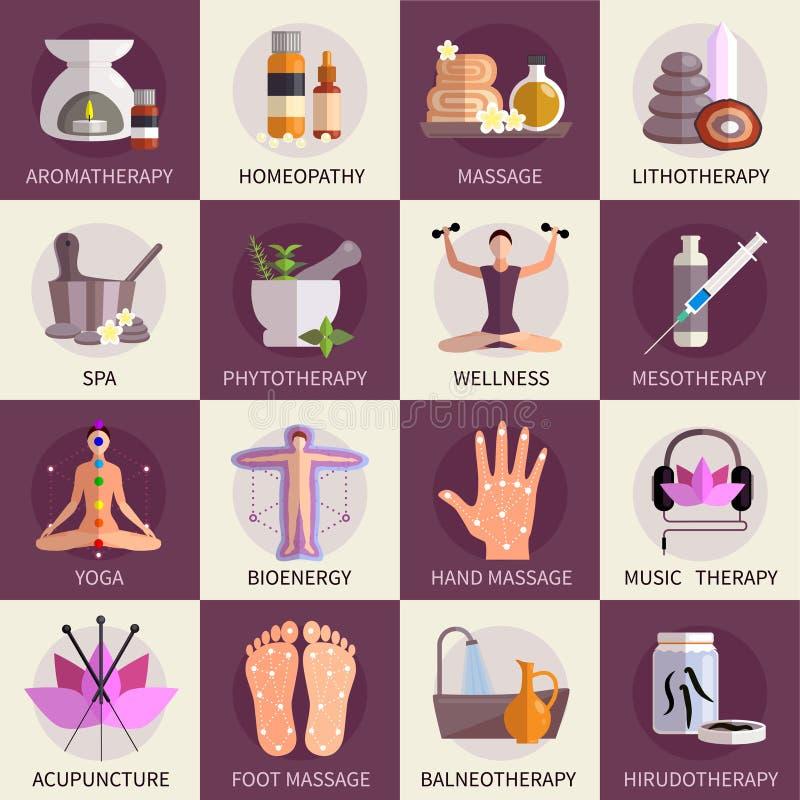 Ícones da medicina alternativa ajustados ilustração do vetor