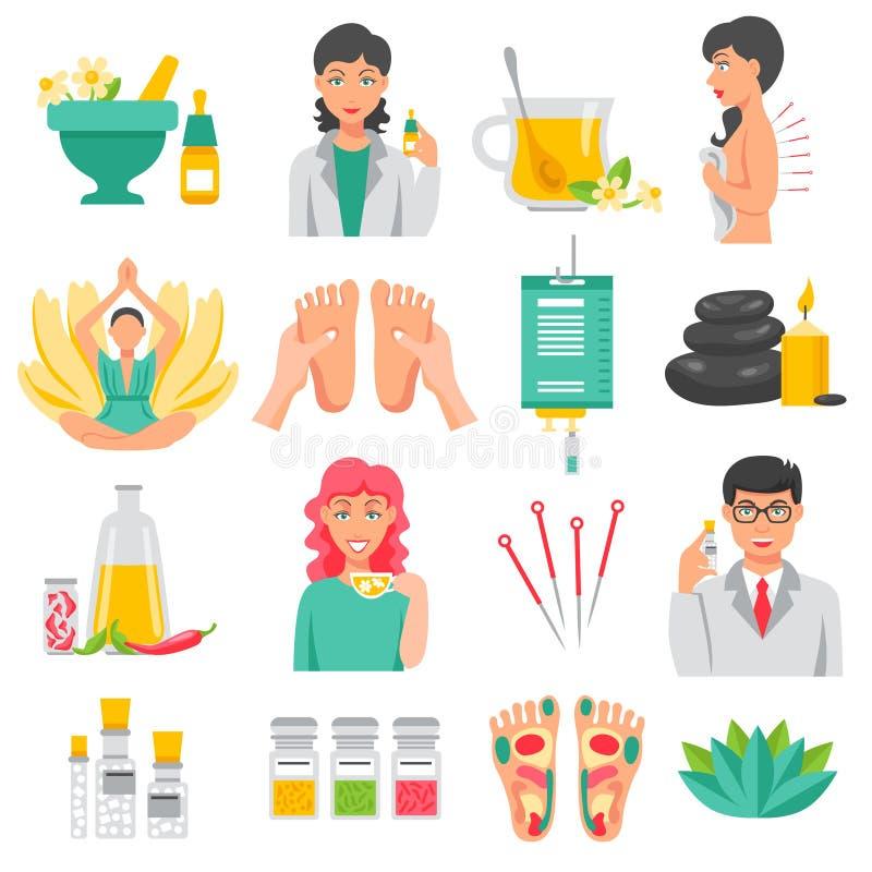 Ícones da medicina alternativa ajustados ilustração stock