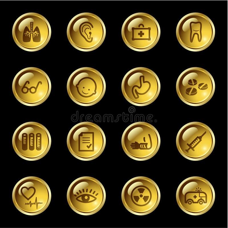 Ícones da medicina da gota do ouro ilustração do vetor