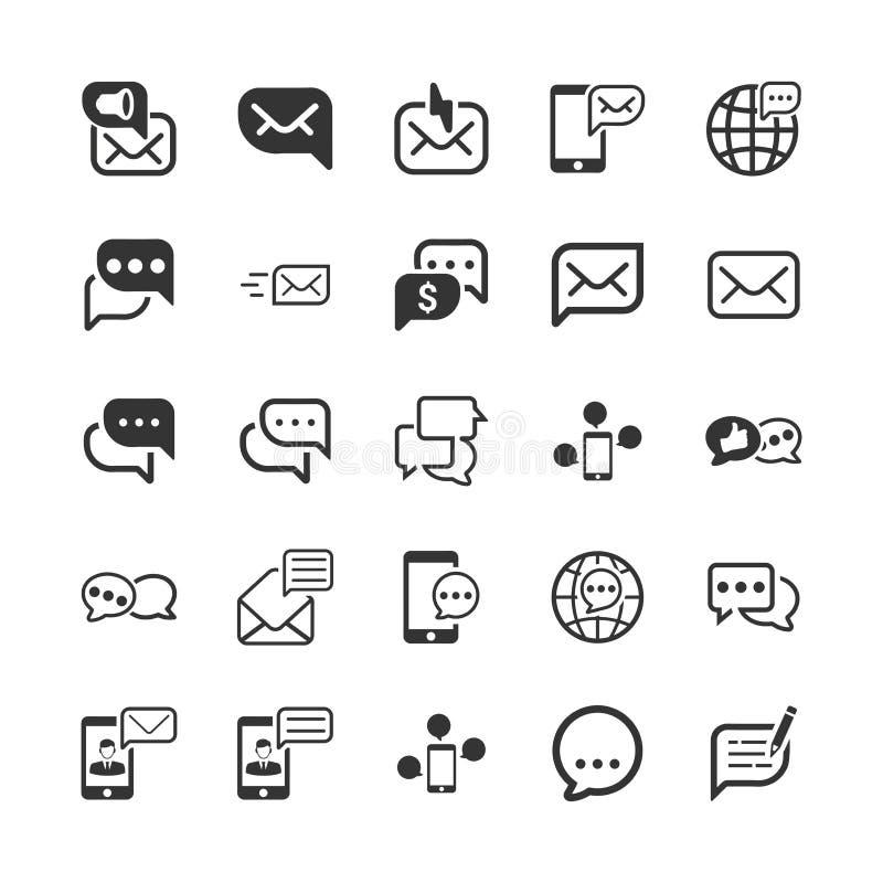 Ícones da mensagem e da comunicação - Gray Version ilustração do vetor