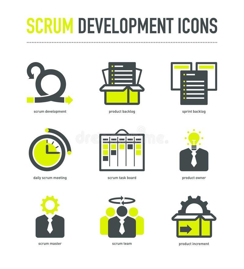 Ícones da metodologia do desenvolvimento do scrum ilustração royalty free