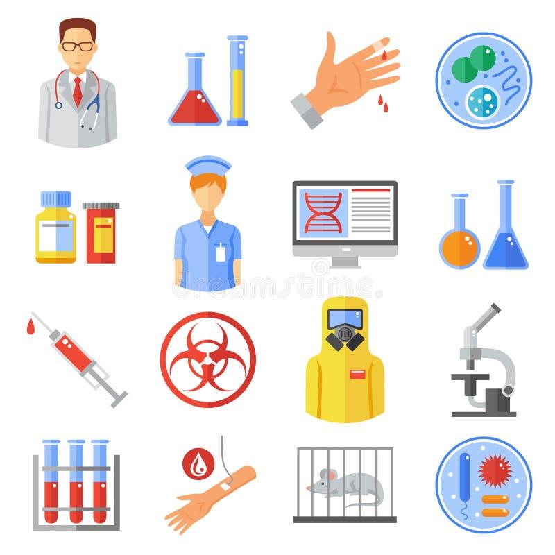 Ícones da microbiologia ajustados ilustração stock