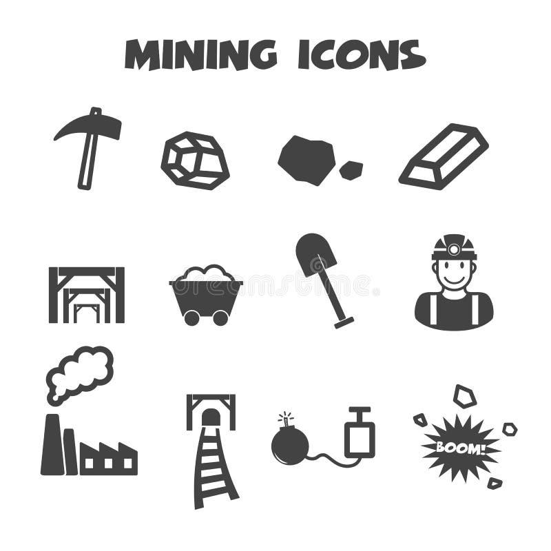 Ícones da mineração ilustração royalty free