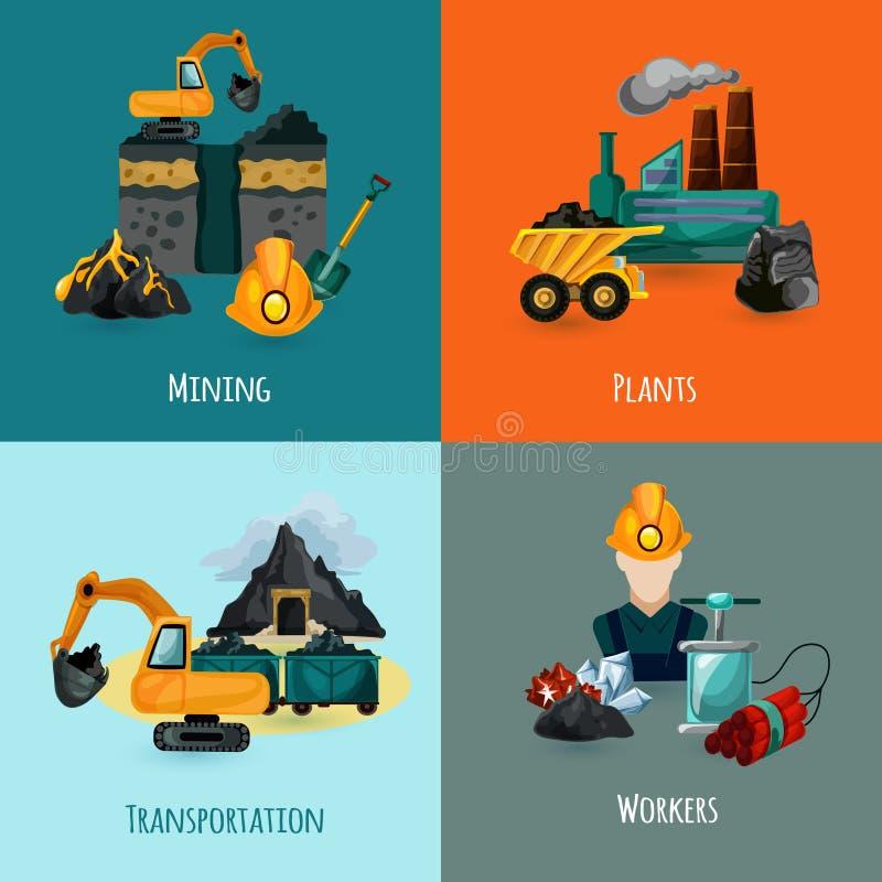 Ícones da mineração ajustados ilustração royalty free