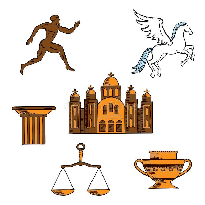 Ícones da mitologia grega, da arte e da religião ilustração stock