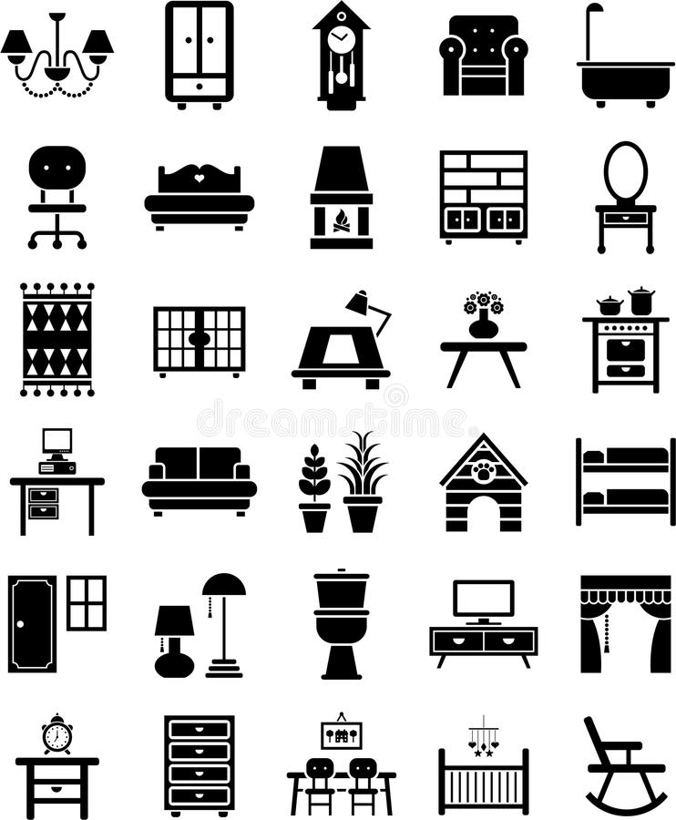 Ícones da mobília ilustração stock