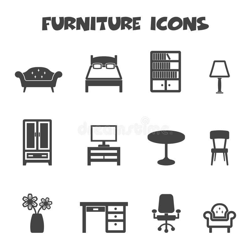Ícones da mobília ilustração royalty free