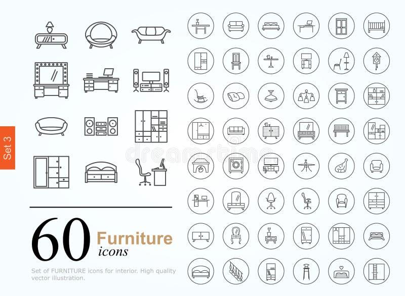 60 ícones da mobília ilustração do vetor