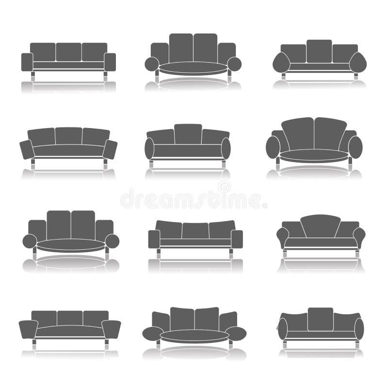 Ícones da mobília ajustados ilustração do vetor