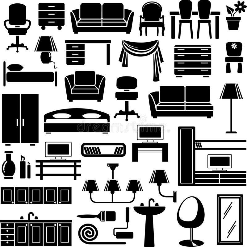Ícones da mobília ajustados ilustração royalty free