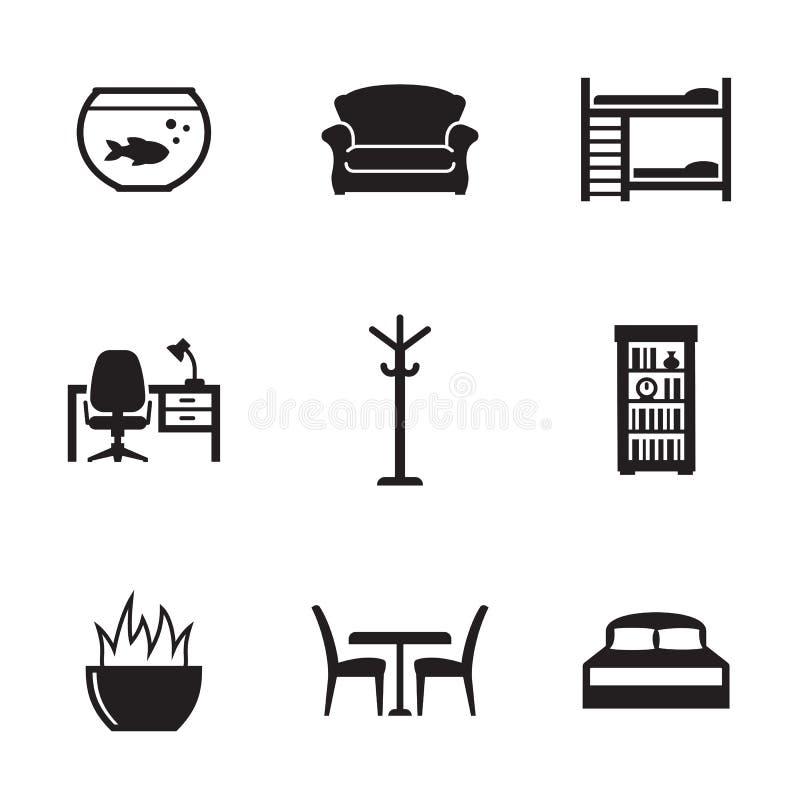 Ícones da mobília ajustados imagens de stock