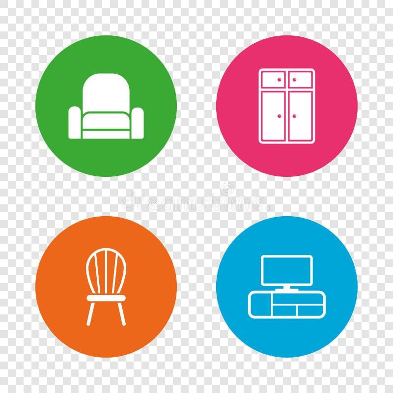 Ícones da mobília Armário, cadeira e tabela da tevê ilustração royalty free