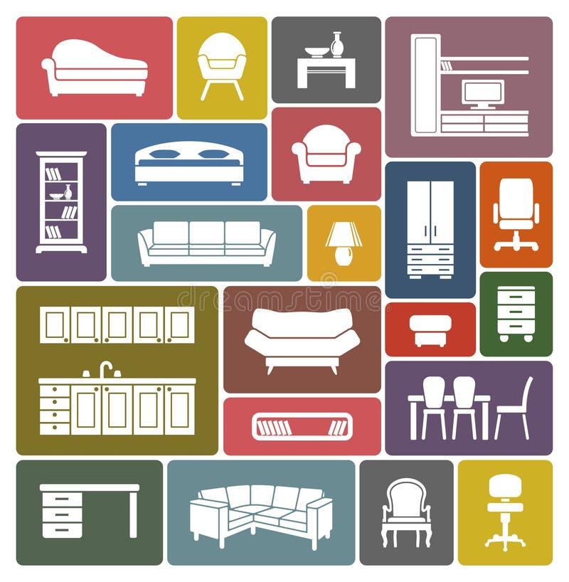 Grupo do ícone da mobília ilustração do vetor