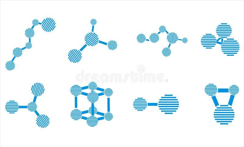 Ícones da molécula ilustração royalty free