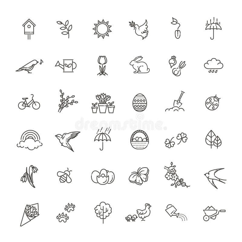 Ícones da mola ajustados Jardim da mola, flores e equipamento de jardinagem Estilo liso do projeto ilustração royalty free