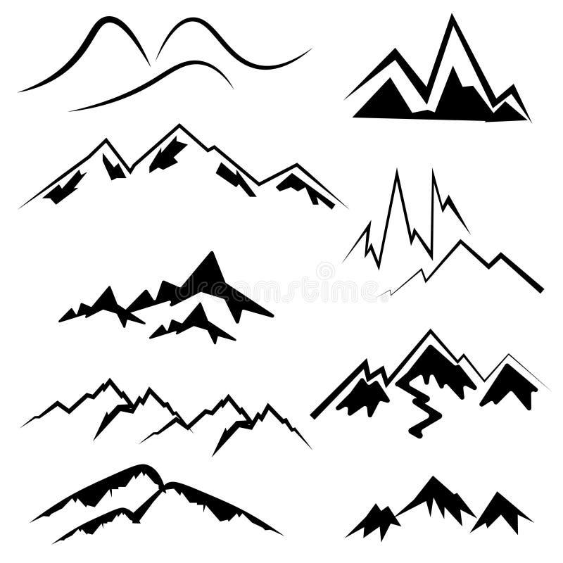 Ícones da montanha ajustados ilustração stock