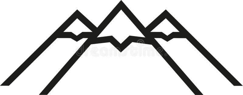 Ícones da montanha com neve ilustração stock