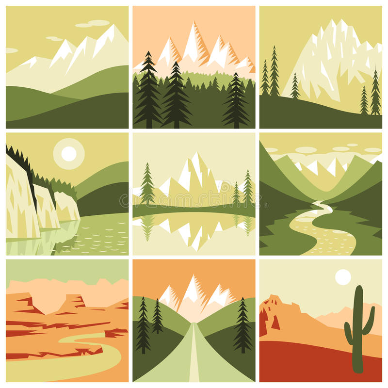 Ícones da montanha da natureza ilustração royalty free
