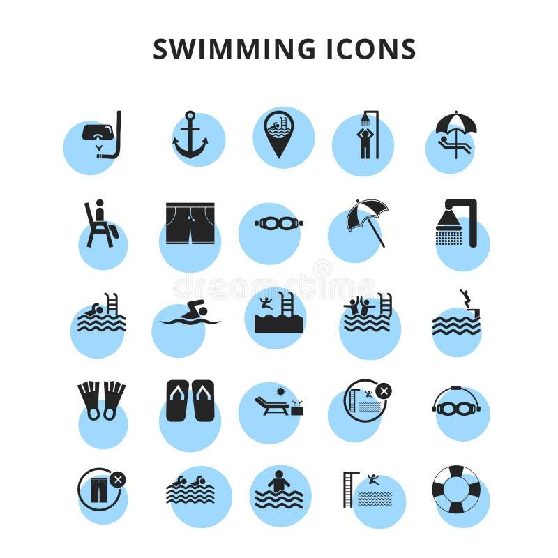 Ícones da natação ajustados ilustração royalty free