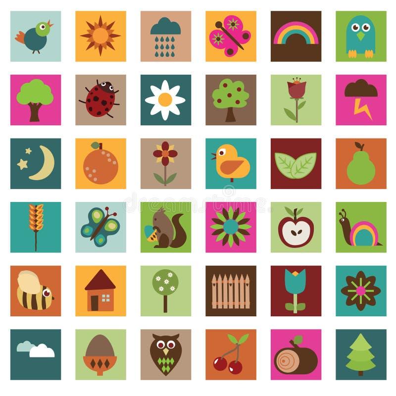 Ícones da natureza ilustração stock