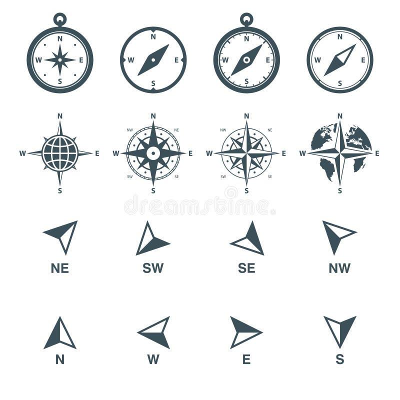 Ícones da navegação ajustados ilustração stock