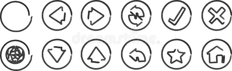 Ícones da navegação de Whiteboard ilustração stock