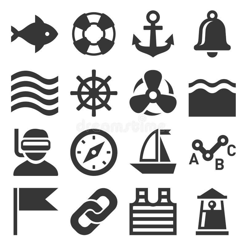 Ícones da navigação do mar ajustados Vetor ilustração royalty free