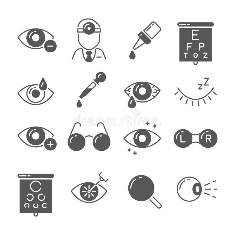 Ícones da optometria Olho e vidros, visão e lente, sinais da cirurgia do laser Símbolos do vetor da oftalmologia ilustração stock