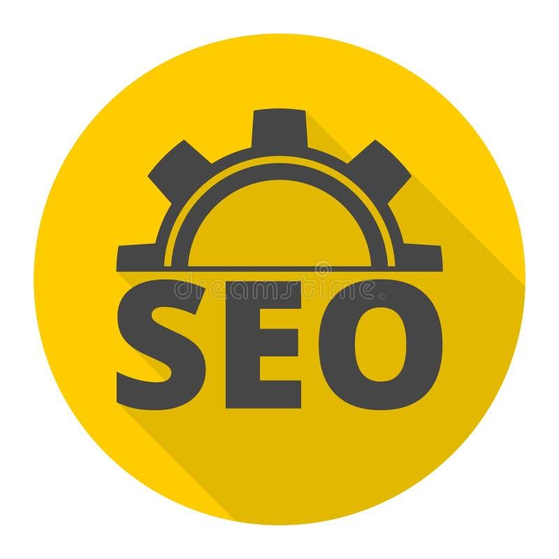 Ícones da otimização do Search Engine ajustados com sombra longa ilustração royalty free