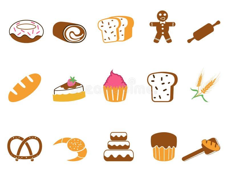 Ícones da padaria da cor ajustados ilustração royalty free