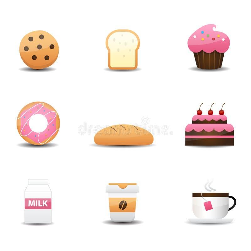 Ícones da padaria e da bebida ilustração stock