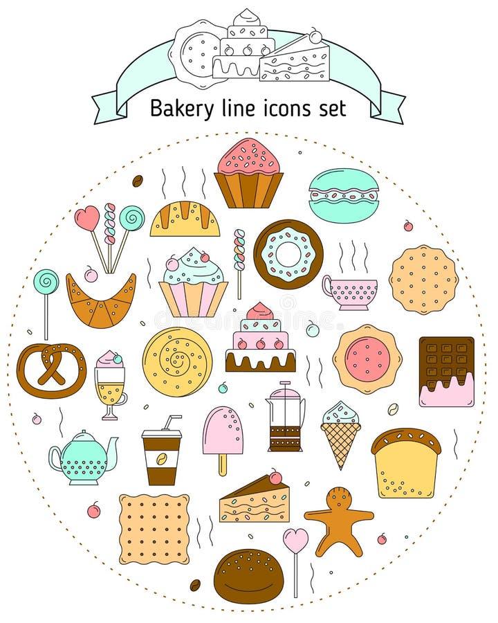 Ícones da padaria na linha estilo da arte Ícones com pão, biscoitos, doces para a Web Ajuste com pão fresco, doces, cozendo para ilustração do vetor