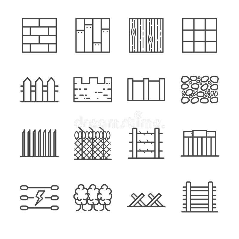 Ícones da parede e da cerca ilustração stock
