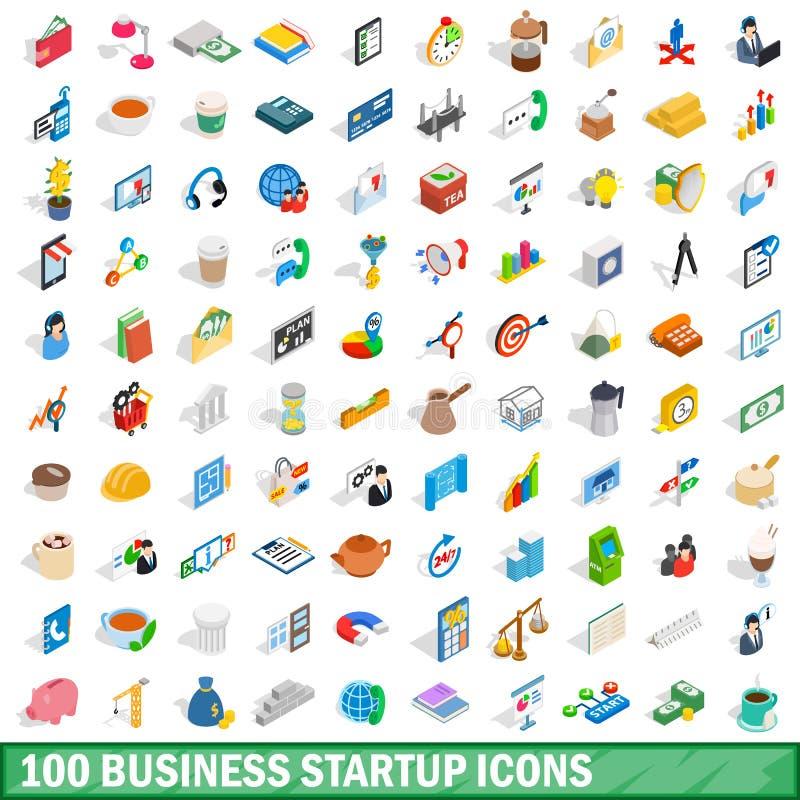 100 ícones da partida de negócio ajustaram-se, o estilo 3d isométrico ilustração royalty free