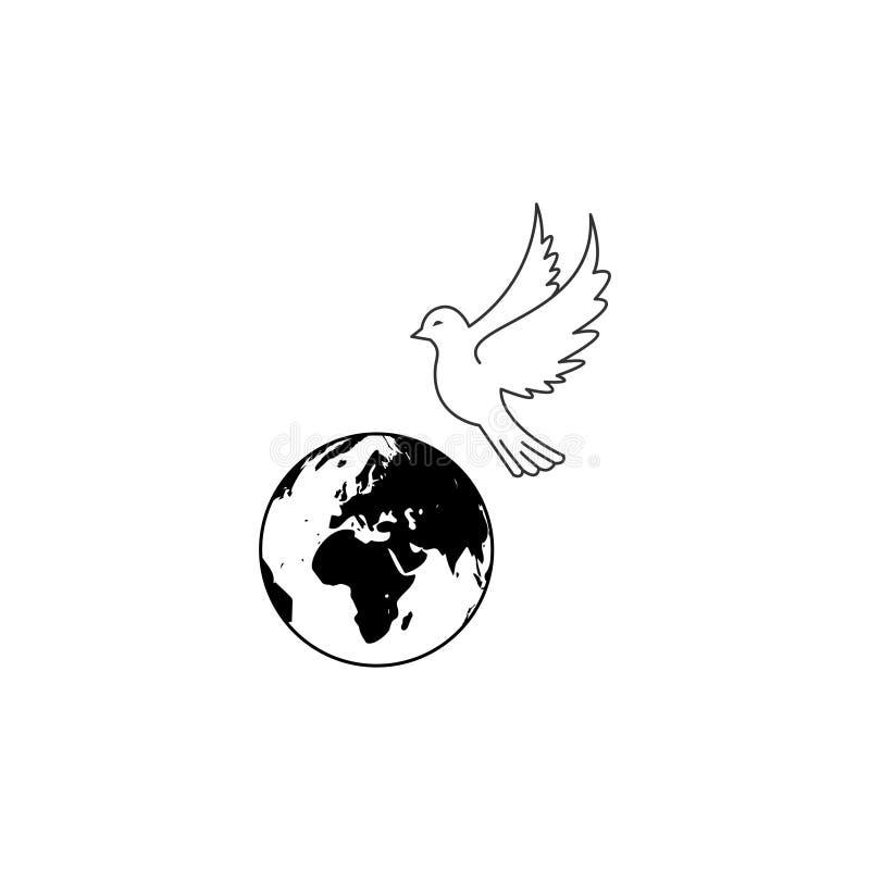 Ícones da paz da pomba da terra ilustração do vetor