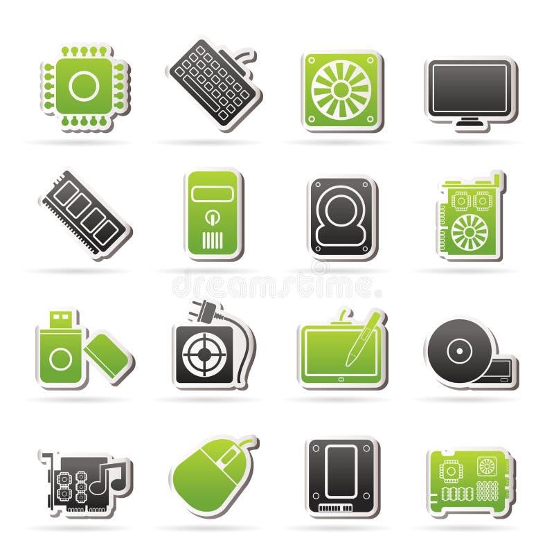 Ícones da peça do computador ilustração do vetor