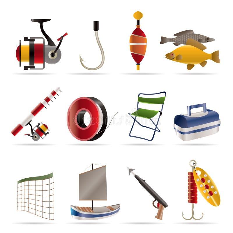 Ícones da pesca e do feriado ilustração royalty free