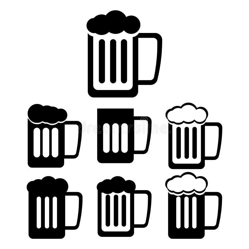 Ícones da pinta e da cerveja ilustração royalty free