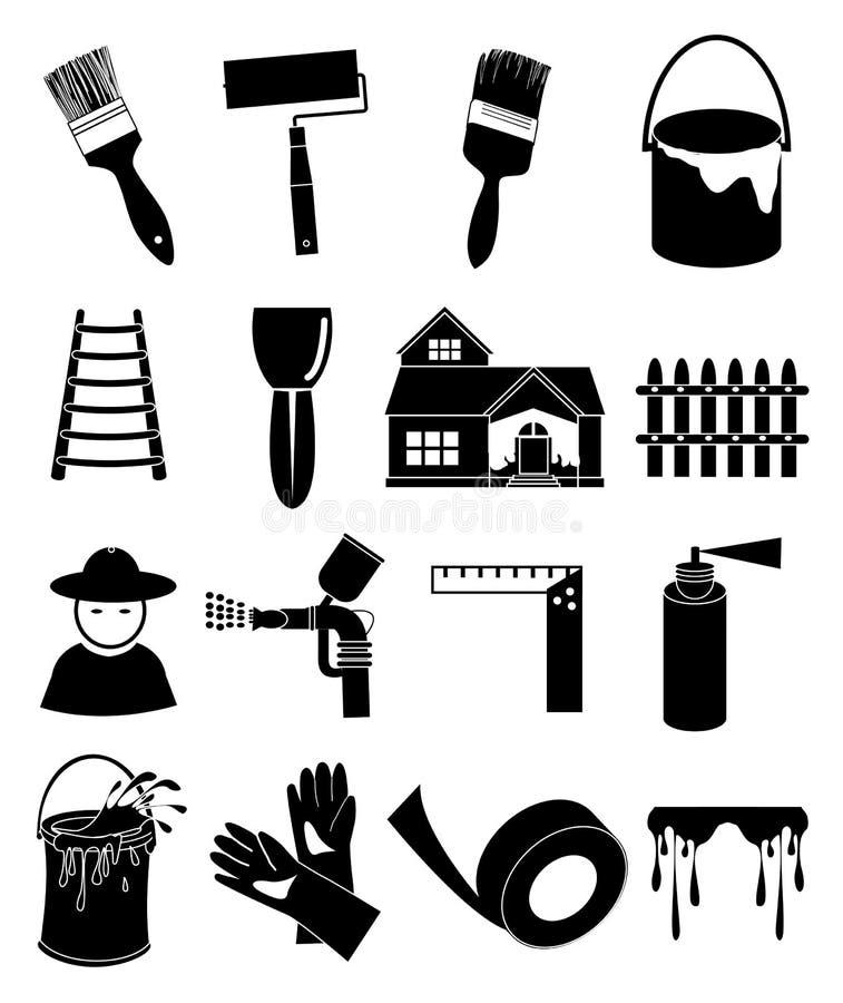 Ícones da pintura de casa ilustração stock