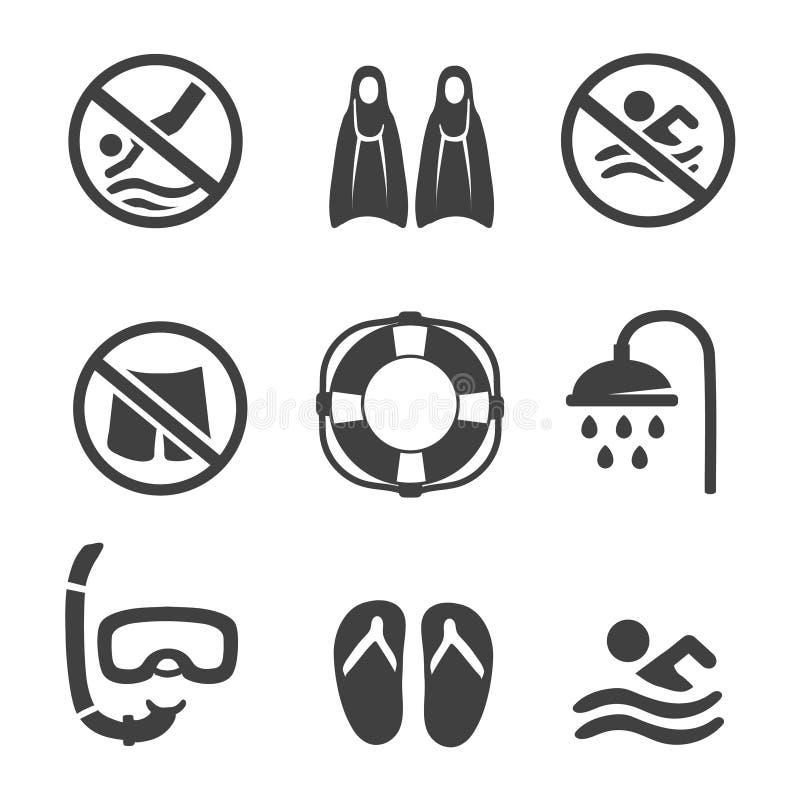 Ícones da piscina, mergulho, máscara, aletas ilustração do vetor