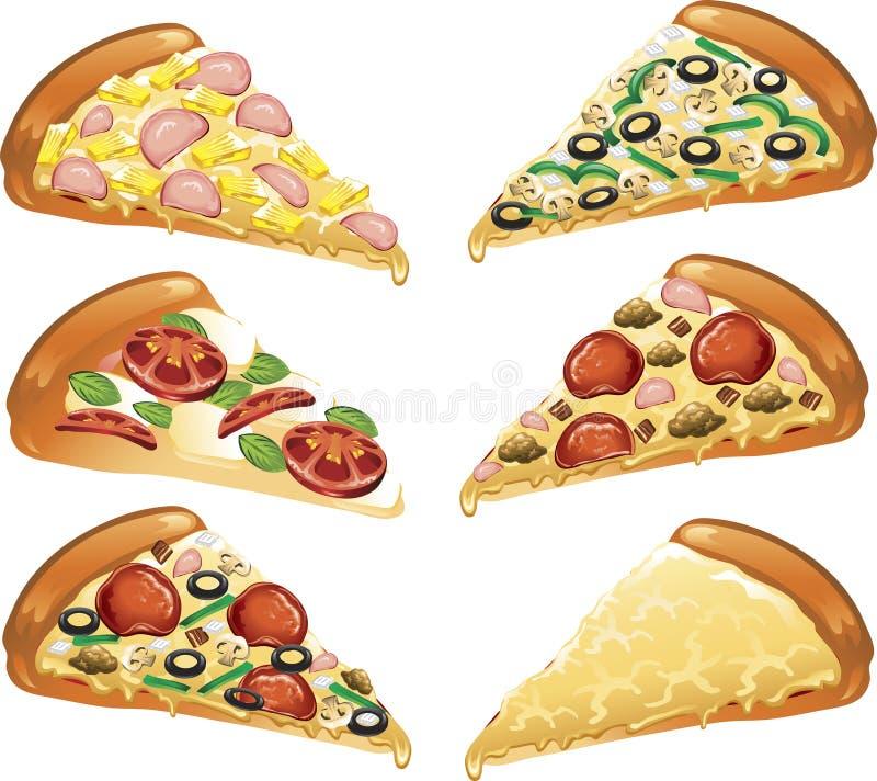 Ícones da pizza ilustração stock