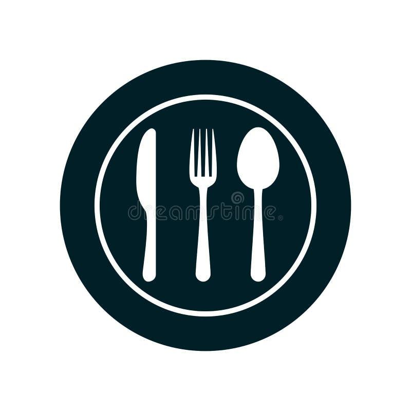 Ícones da placa, da forquilha, da colher e da faca - para o estoque ilustração stock