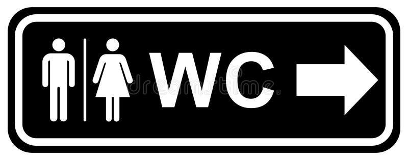 Ícones da placa da porta do toalete do Wc Sinal dos homens e das mulheres para o toalete cor branca preta dos símbolos lisos da i ilustração do vetor