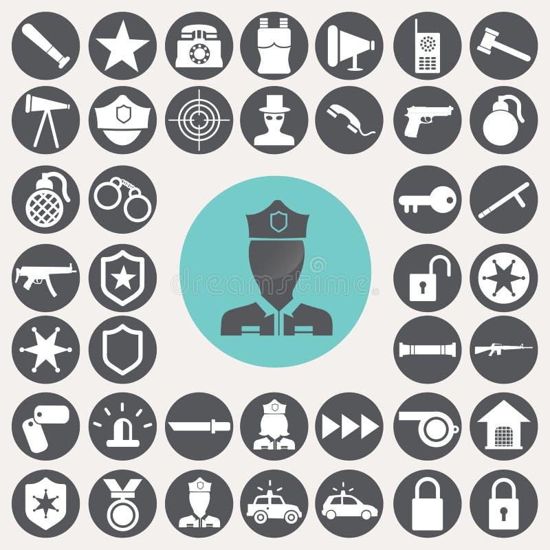 Ícones da polícia ajustados ilustração royalty free