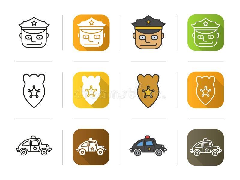 Ícones da polícia ajustados Oficial, crachá, símbolo do carro ilustração royalty free